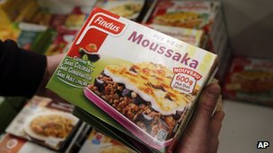 Findus Beef Moussake being removed from a shop outside Paris