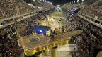 Grande Rio samba school parades at the Rio carnival on Monday night
