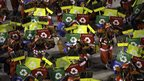Members of the Grande Rio samba school parade on Monday at the Rio carnival