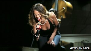 Rihanna performing at the Grammy Awards