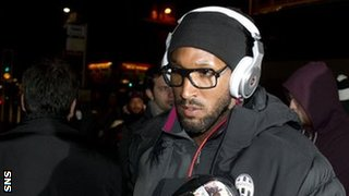 Juventus striker Nicolas Anelka arrives in Glasgow