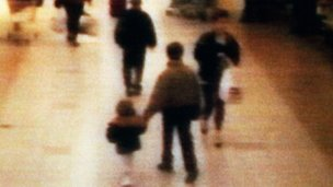 CCTV of James Bulger being led away
