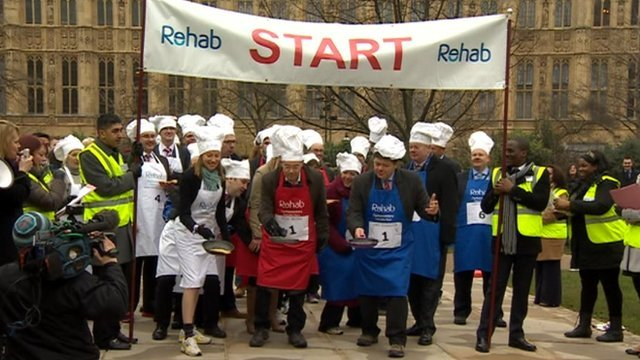 Start of pancake race