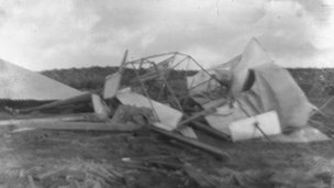 Wreckage of Carlyon's glider