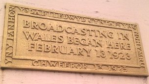 A plaque on the Cardiff building where broadcasting in Wales began
