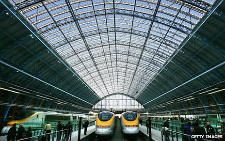 A view from inside the glass-roofed newer St Pancras building