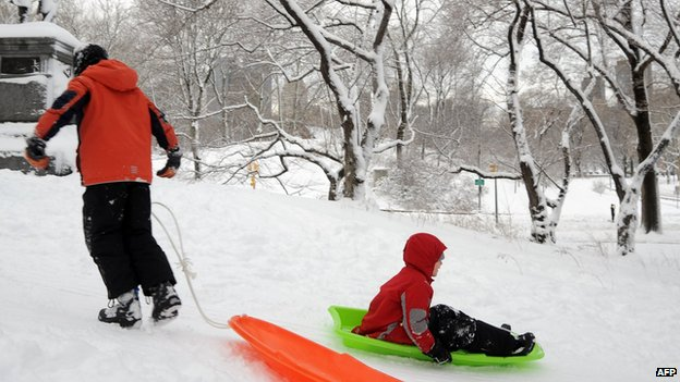 Children sled in Central Park after winter storm Nemo covered New York City with 4 to 8 inches (10-20cms) of snow on February 9, 2013.