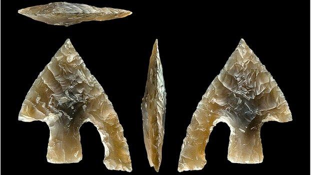 Bronze Age flint arrow head found in burial