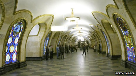Novoslobodskaya underground station in Moscow has a corridor of arches with stained-glass windows