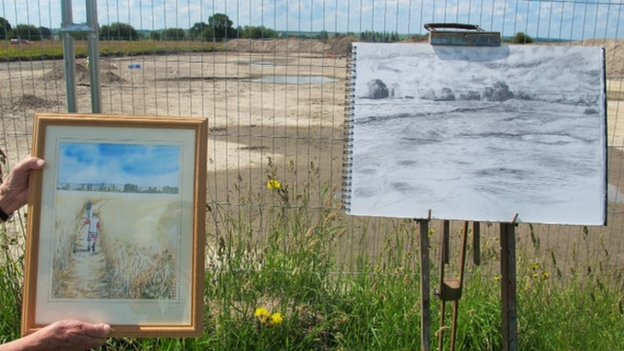 Marilyn Bartleet's watercolour (left) and Miranda Creswell's drawing of the excavations