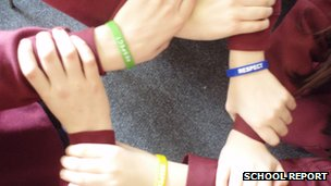 Students wearing respect wrist bands