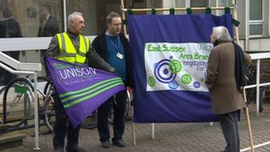 Unison protesters at County Hall