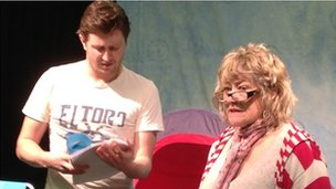 Dafydd Rhys Evans and Christine Pritchard in rehearsals for Theatr na nog's A Breath of Fresh Air