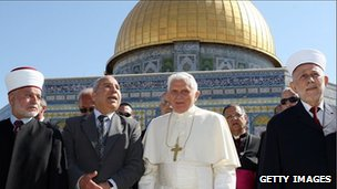 Pope Benedict XVI at the Dome of the Rock in Jerusalem on 12 May, 2009
