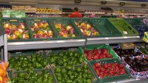 Fruit section of supermarket