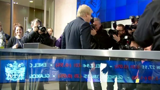 Boris Johnson opening trading at the London Stock Exchange on Tuesday