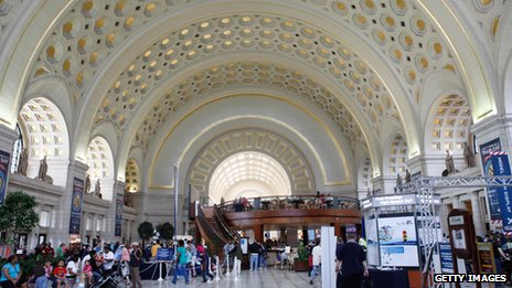 The interior of Washington DC's Union Station is bright with many arches