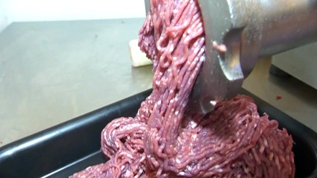 Meat in a mincer