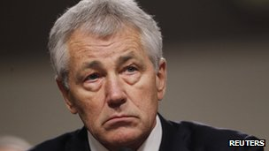 Former Republican Senator for Nebraska Chuck Hagel at a Senate confirmation hearing Washington DC 31 January 2013