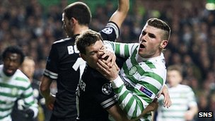 Pushing and shoving was a feature of the first-half at Celtic Park