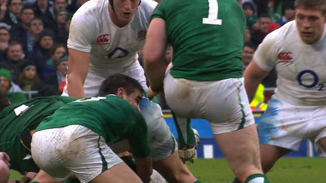 Ireland's Cian Healy stamps on England's Dan Cole