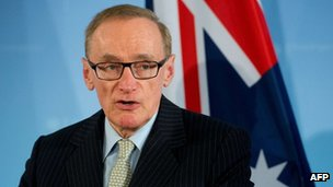 Australian Foreign Minister Bob Carr speaks during a press conference with his German counterpart on January 28