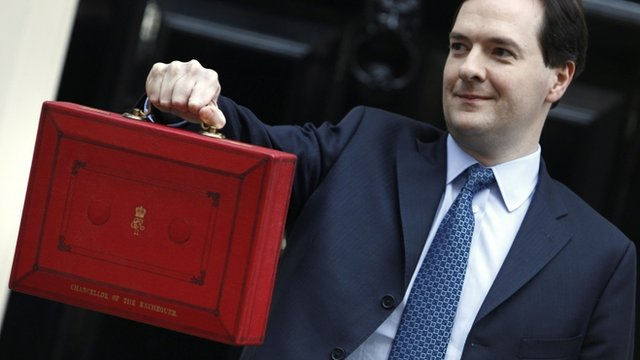 George Osborne, holds his budget case