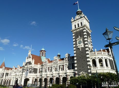 The outside of New Zealand's Dunedin Station
