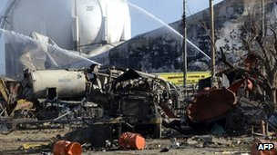 Devastation caused by blaze at the Venezuelan Amuay oil refinery