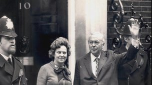 Harold and Mary Wilson on October 1974 election