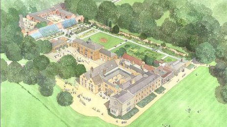 Artist's impression of restored Delapre Abbey
