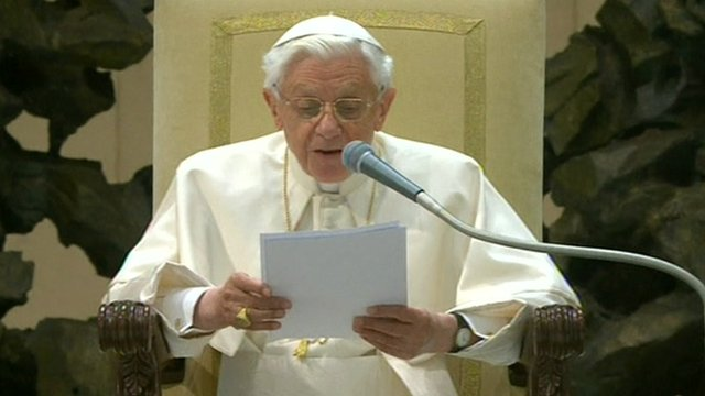Pope Benedict XVI during his last audience