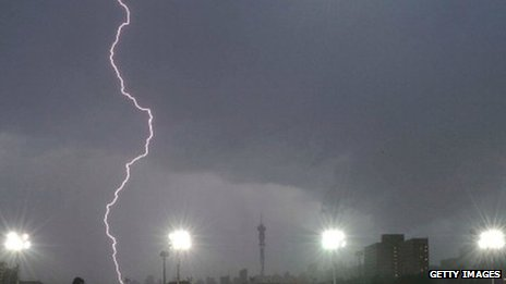 Lightning in Johannesburg, South Africa, December 2011 (Archive shot)
