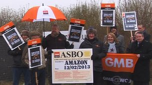 GMB protest at Amazon, Doncaster