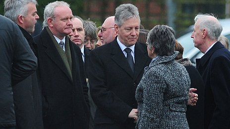 Peter Robinson and Martin McGuinness meet Constable Reynolds' family