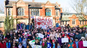 Hundreds of people protested over plans to close the baths