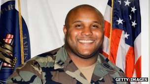 A picture provided by Los Angeles Police Department of alleged suspect Christopher Dorner is displayed during briefing in Los Angeles, California 7 February 2013