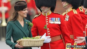 Kate Middleton hands out shamrocks on St Patrick's Day