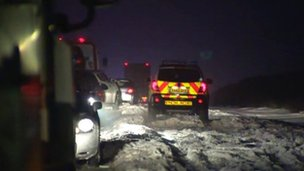 Dozens of motorists trapped on hill