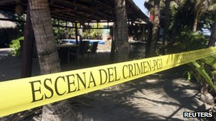 Crime scene tape outside the house where six Spanish women were raped