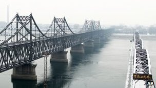 The Yalu bridge, right, next to the Friendship Bridge linking China and North Korea, in Dandong, China, on 13 February 2013