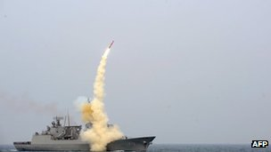 This undated picture released on 14  February 2013 in Seoul by South Korea's defence ministry shows the test-launch of its new cruise missile being fired from a warship