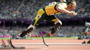 South Africa's Oscar Pistorius starts his men's 400m round 1 heats at the London 2012 Olympic Games at the Olympic Stadium on 4 August 2012