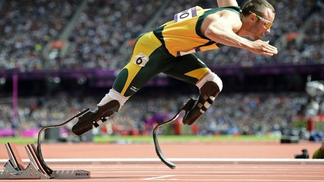 South Africa&quot;s Oscar Pistorius starts his men&quot;s 400m round 1 heats at the London 2012 Olympic Games at the Olympic Stadium in this August 4, 2012 