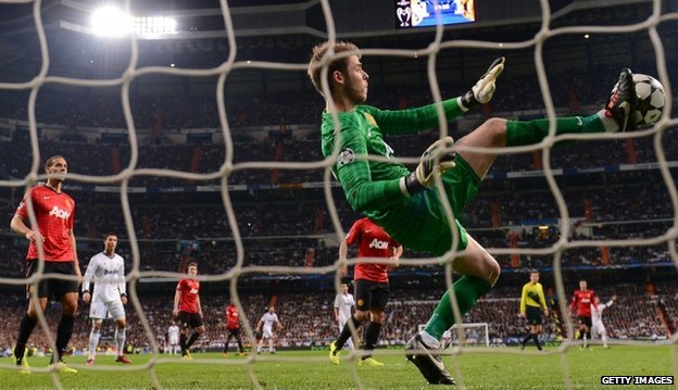 David de Gea of Manchester United makes a save with his foot