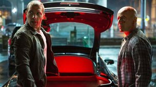 Jai Courtney and Bruce Willis in A Good Day to Die Hard