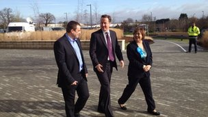 David Cameron walking in Eastleigh