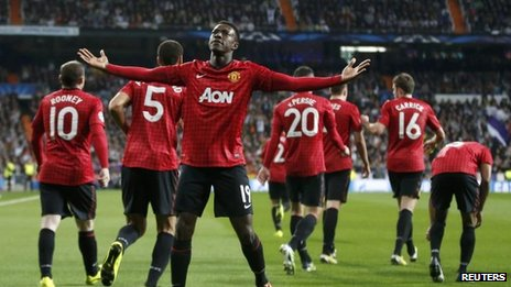 Danny Welbeck celebrating his opening goal against Real Madrid