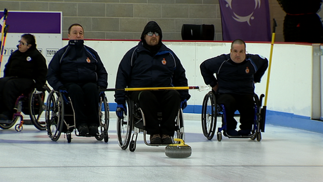 Scotland&#039;s Wheelchair Curling team training
