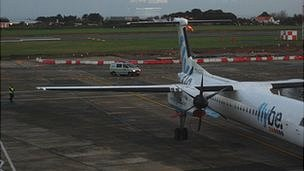 Guernsey Police search a plane at Guernsey Airport
